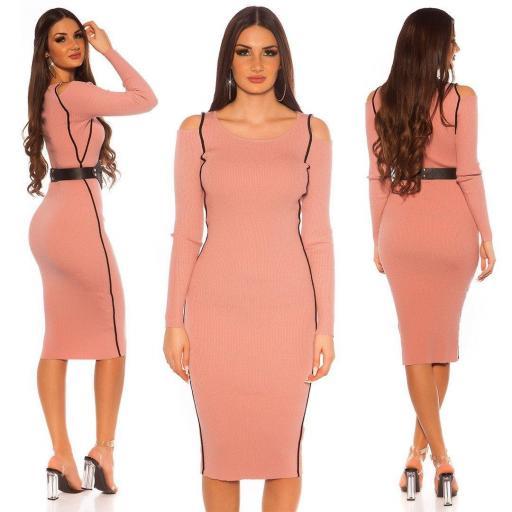 Vestido punto rosa y rayas