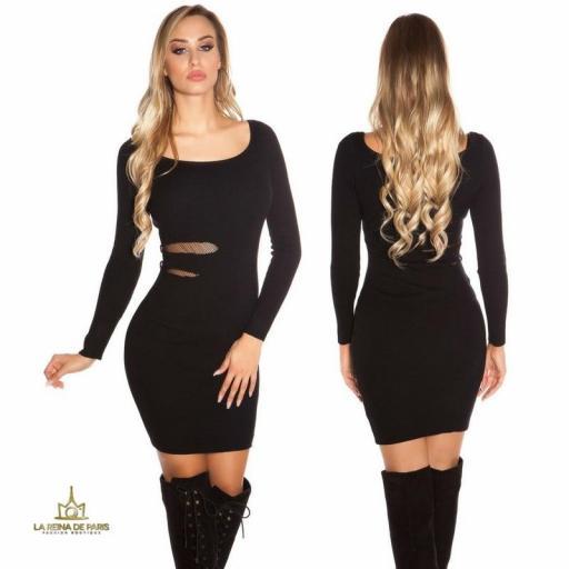 Vestido de punto negro recortes [0]