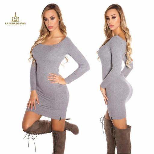 Vestido de punto gris recortes [1]