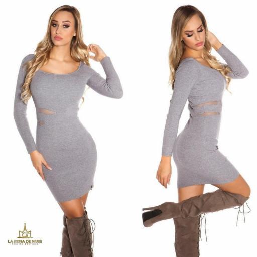 Vestido de punto gris recortes [2]