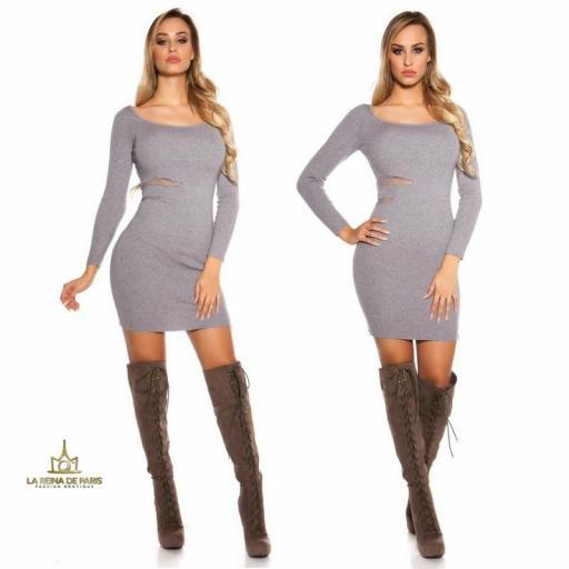 Vestido de punto gris recortes [3]