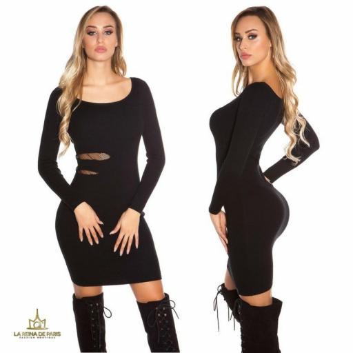 Vestido de punto negro recortes [1]