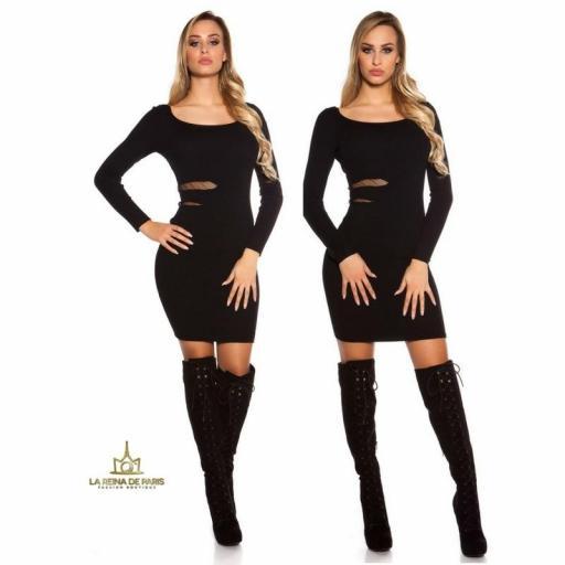 Vestido de punto negro recortes [3]