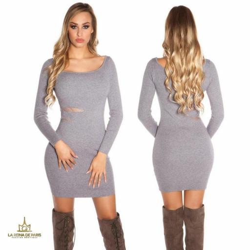 Vestido de punto gris recortes