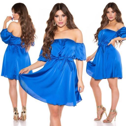 Vestido de verano hombros desnudos azul