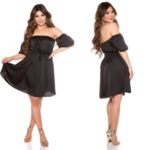 Vestido de verano hombros desnudos negro [1]