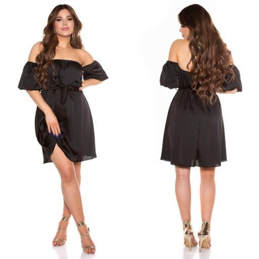 Vestido de verano hombros desnudos negro [2]