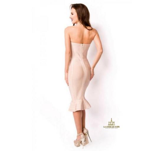 Vestido bandage largo rosa [1]