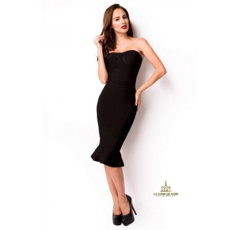 Vestido bandage largo negro