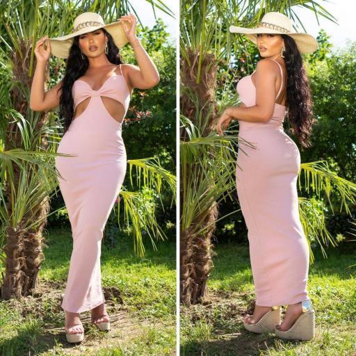 Vestido largo con aberturas rosa