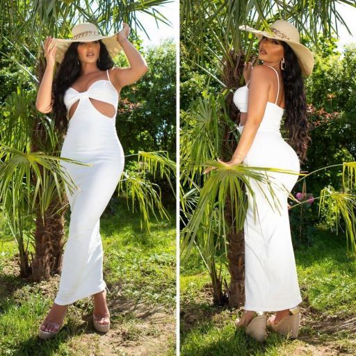 Vestido largo con aberturas blanco