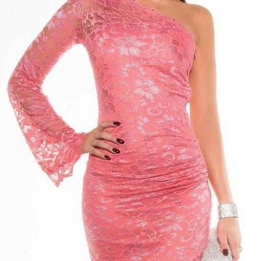 Vestido encaje de fiesta elegante coral