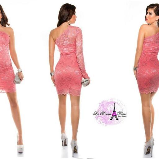 Vestido encaje de fiesta elegante coral [2]