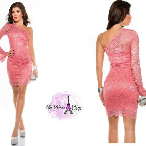 Vestido encaje de fiesta elegante coral [3]