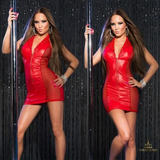Vestido rojo efecto cuero con red