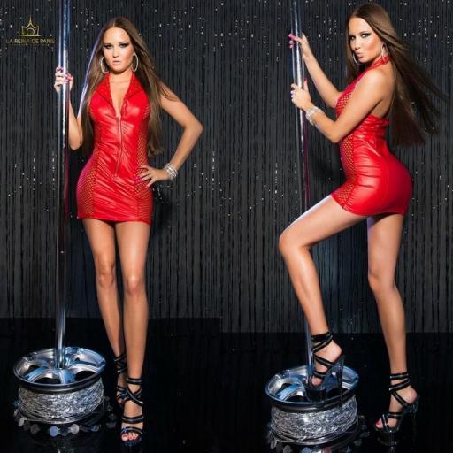 Vestido rojo efecto cuero con red [1]