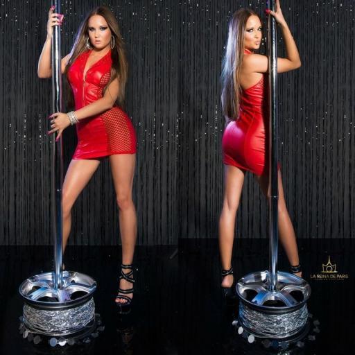 Vestido rojo efecto cuero con red [2]