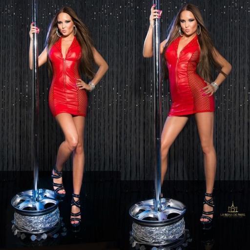 Vestido rojo efecto cuero con red [3]