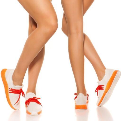 Zapatillas cordones decorativos naranja
