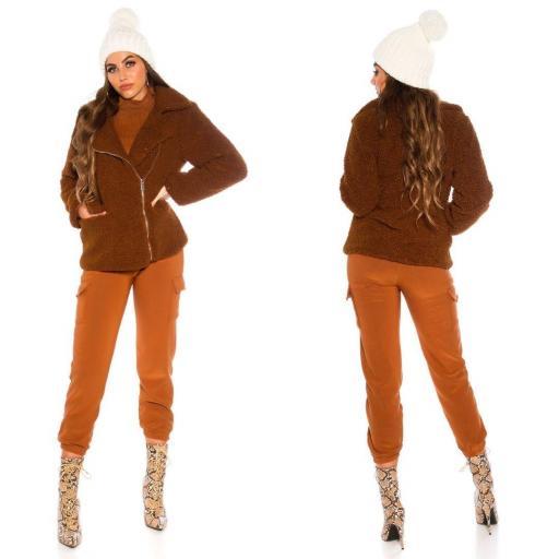 Chaqueta peluche marrón