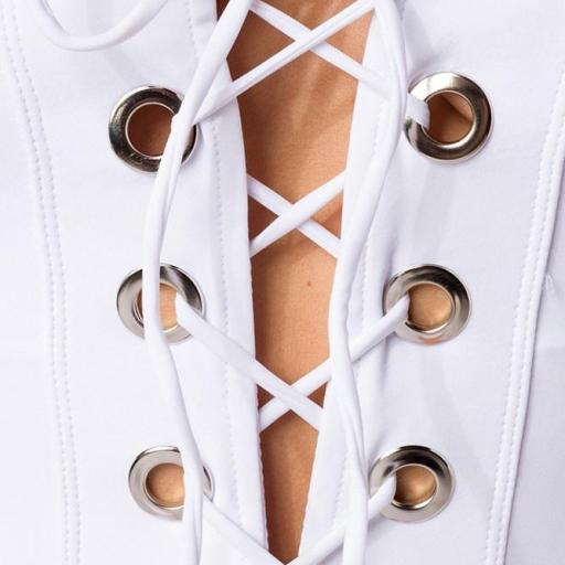 Bañador de mujer con cordones blanco [2]