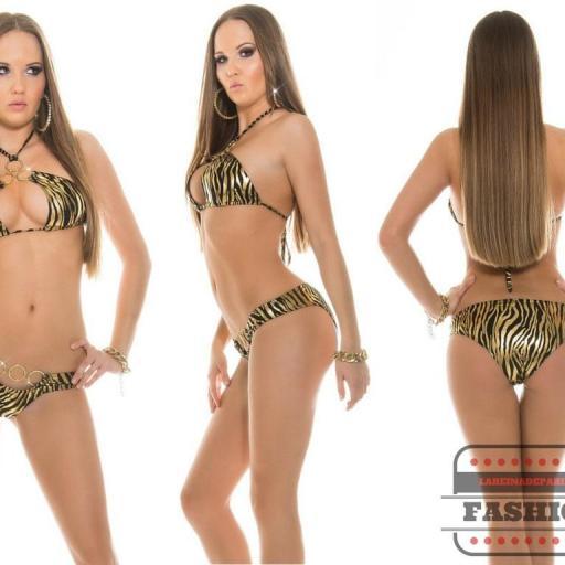 Bikini coqueto zebra negro Noelle