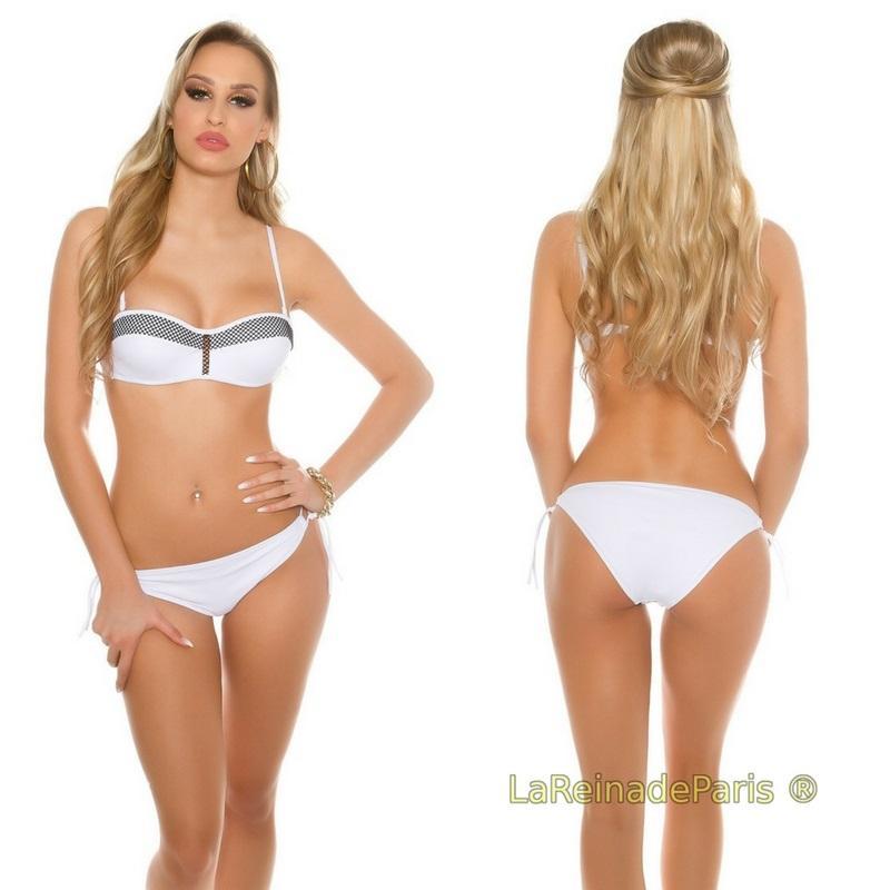 Bikini con malla blanco
