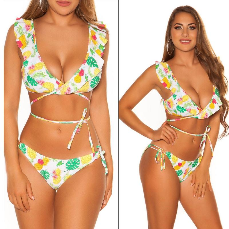 Bikini con volantes print Hawái blanco