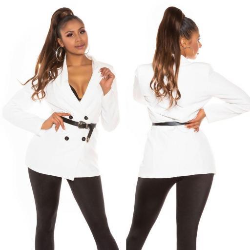 Blazer de moda cruzado blanco