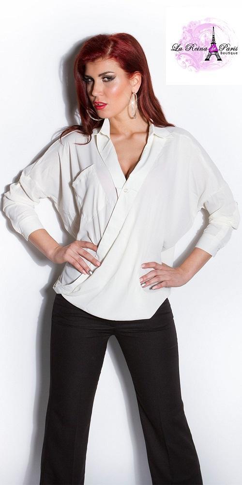 Blusa de mujer envuelta blanco