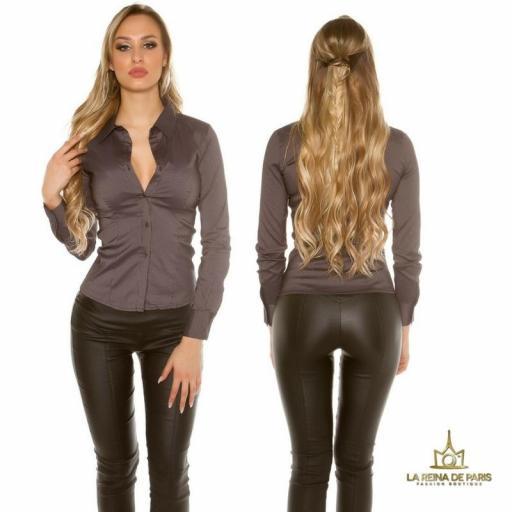 Blusa ajustada negro moderna [0]
