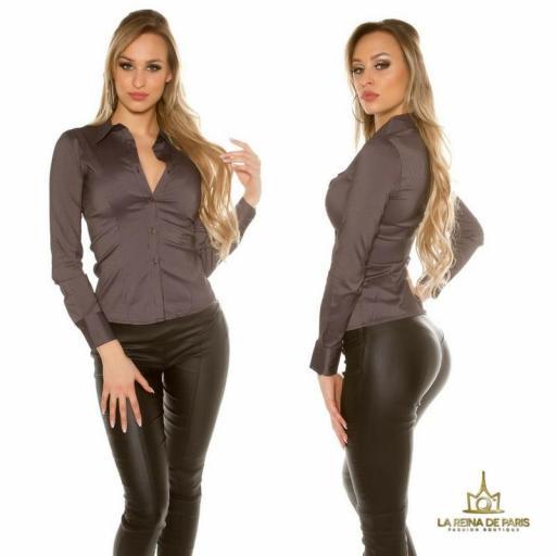 Blusa ajustada negro moderna [1]