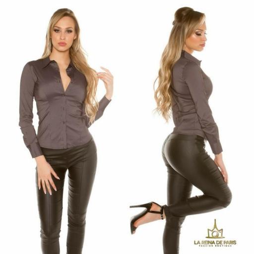 Blusa ajustada negro moderna [2]