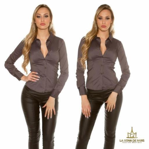 Blusa ajustada negro moderna [3]