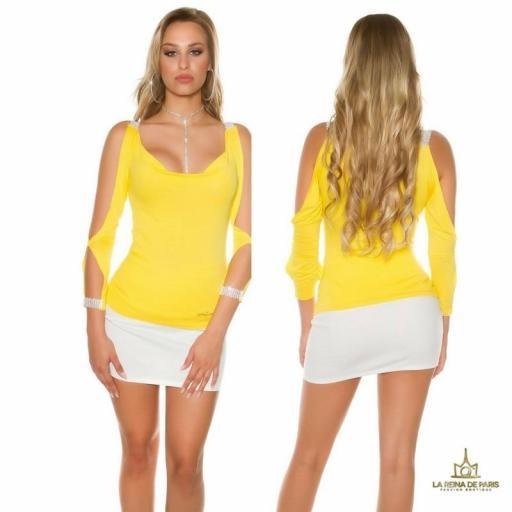 Blusa amarilla con mangas abiertas