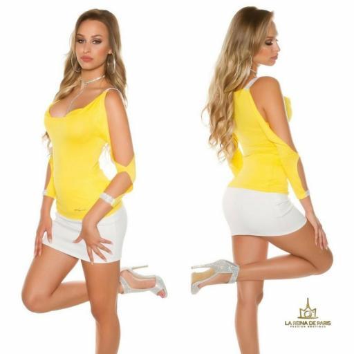 Blusa amarilla con mangas abiertas [1]