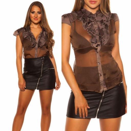 Blusa transparente marrón con volantes  [3]