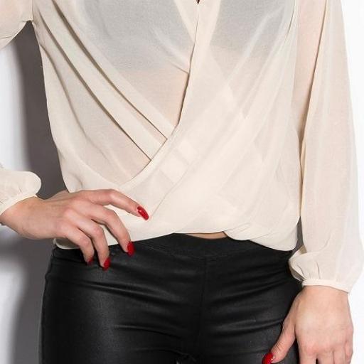 Blusas transparentes con bordados beige