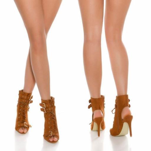 Botines en bronce peep toe con cordones [0]