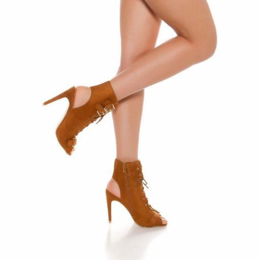 Botines en bronce peep toe con cordones [1]