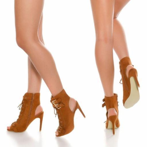 Botines en bronce peep toe con cordones [2]