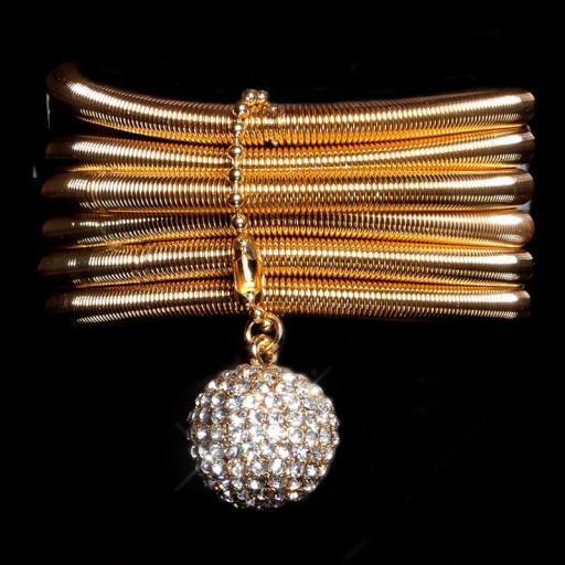 Brazalete oro con bola de diamantes