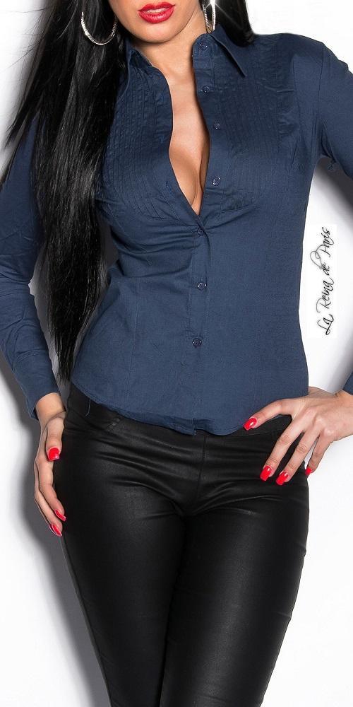 Camisa de moda entalladas Chevis azul