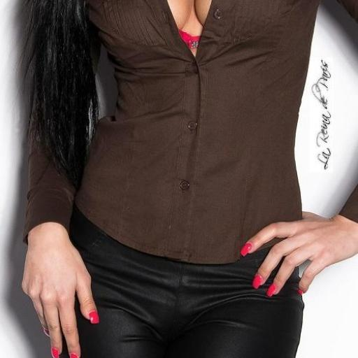 Camisa mujer entallada Chevis marrón  [3]