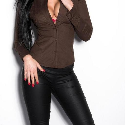 Camisa mujer entallada Chevis marrón