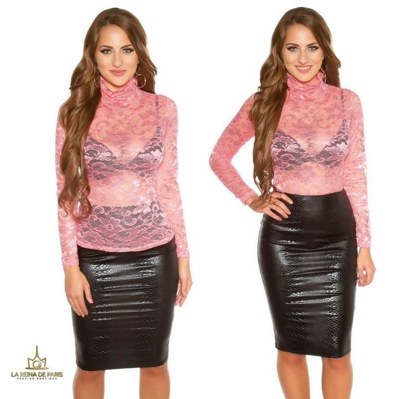 Camisa de encaje coral manga larga