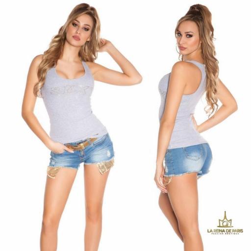 Camiseta sexy con cremallera gris [1]