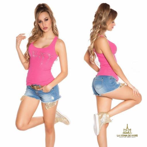 Camiseta sexy con cremallera fucsia [2]
