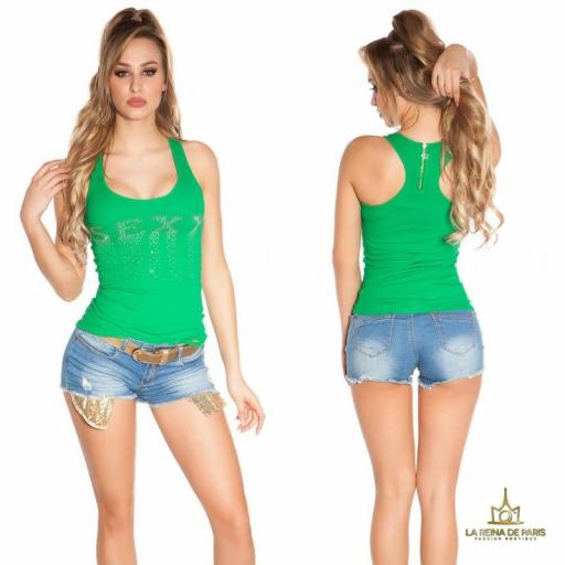 Camiseta sexy con cremallera verde