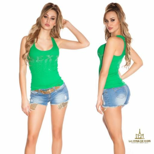 Camiseta sexy con cremallera verde [1]